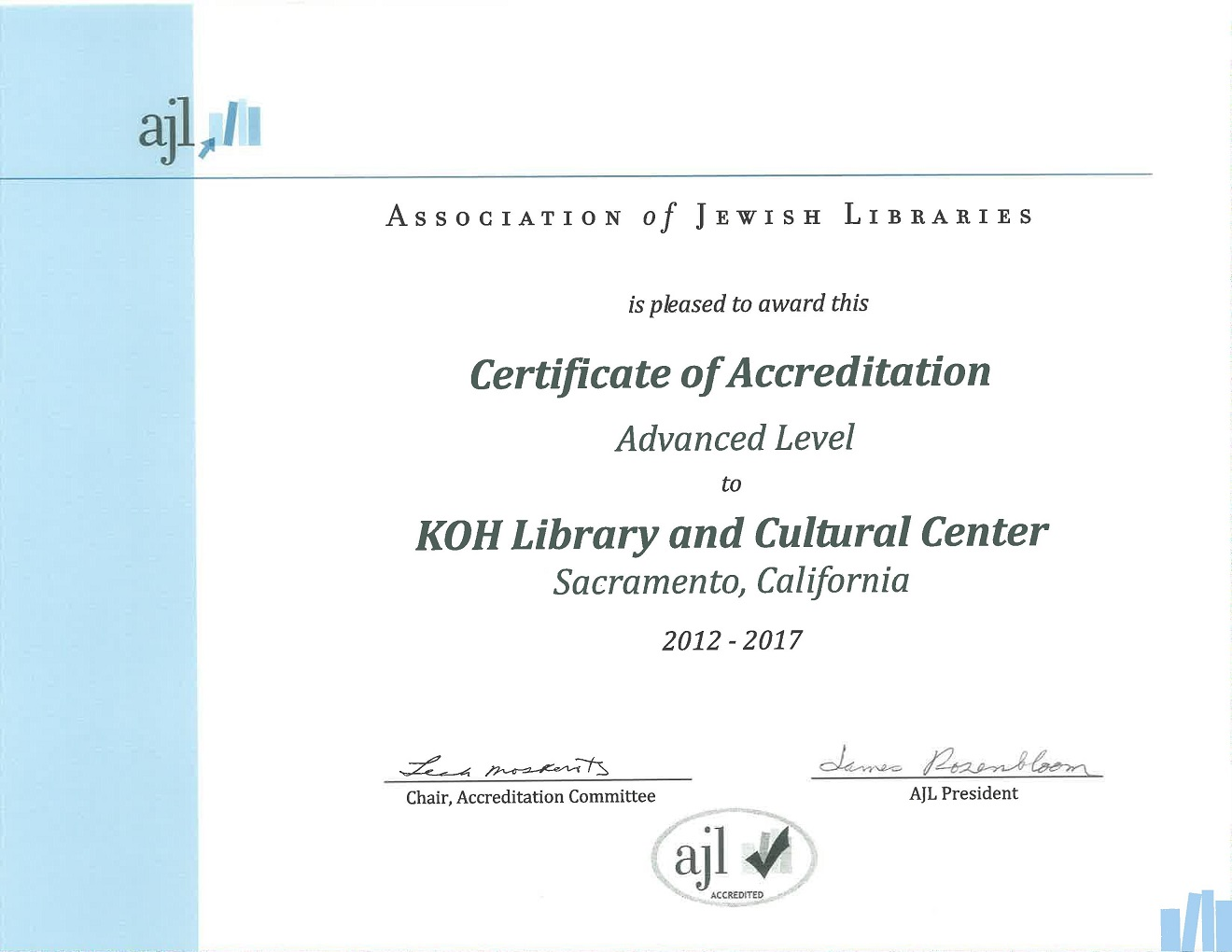 AJL Certificate of Accreditation